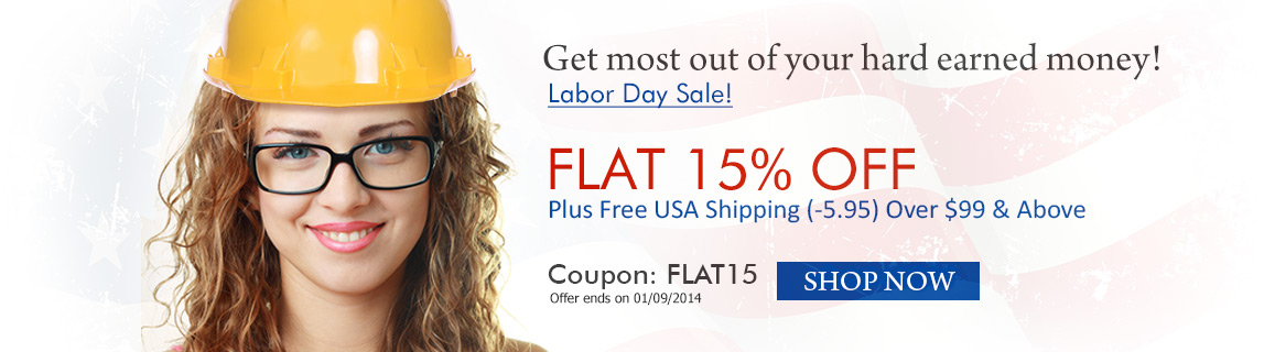 Labor Day Sale! Flat 15% off + Free Shipping