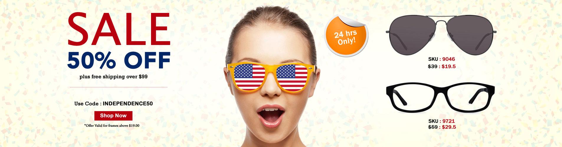50% Off Independence Day offer on Prescription Glasses
